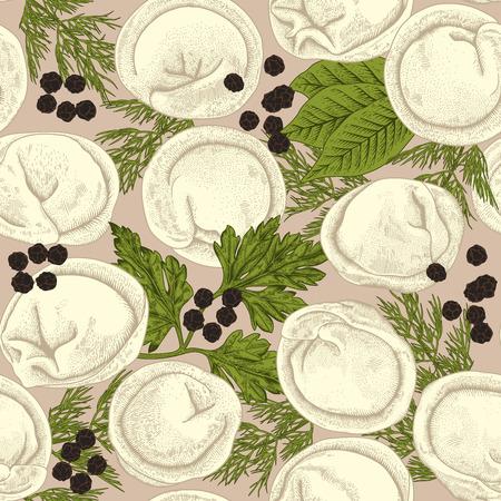 Pelmeni. Meat dumplings. Food. Seamless background. Vettoriali