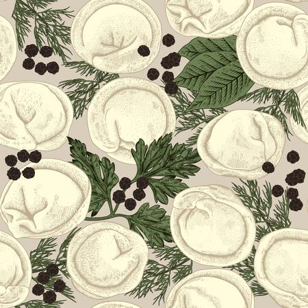 Pelmeni. Meat dumplings. Food. Seamless background. Ilustração