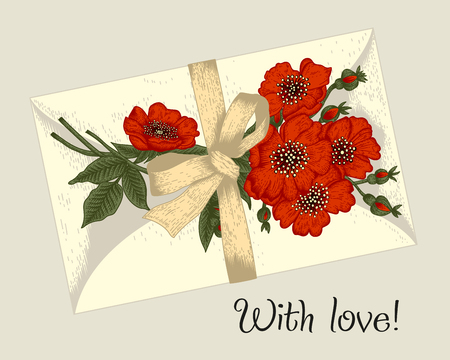 Flowers, envelope and tape. Vintage vector illustration. Botany. Floral pattern. Classical stylish card.