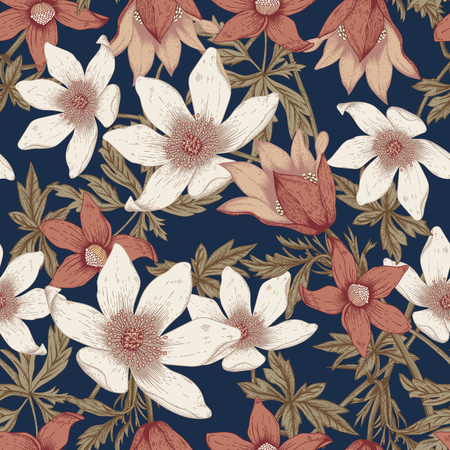 Flowers. Seamless vector background. Vintage illustration. 向量圖像