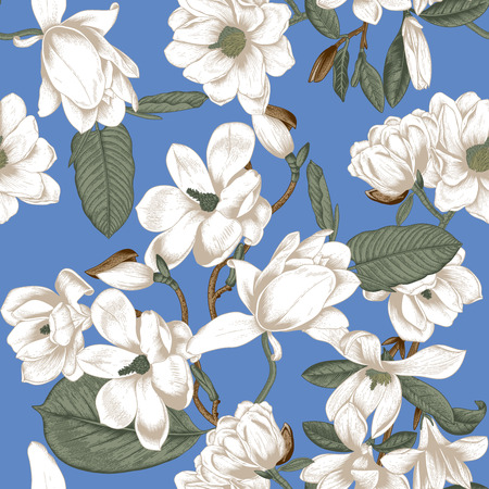 Magnolias. Flowers. Vector seamless background with flowers. Botany. Spring. Blooming trees. Vegetable pattern. Garden.
