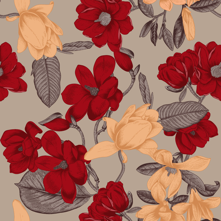Magnolien. Blumen. Vektor nahtloser Hintergrund mit Blumen. Botanik. Frühling. Blühende Bäume. Gemüsemuster. Garten.