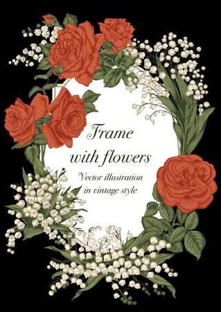 Flowers. Elegant frame with flowers. Vintage vector illustration. Classic card. Engraving with floral pattern. Botany. Vektoros illusztráció