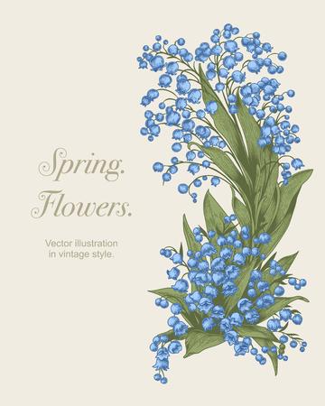 Flowers. Vector illustration in vintage style. Spring postcard. 版權商用圖片 - 103108643