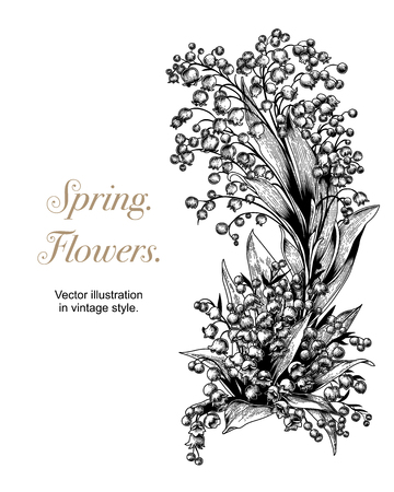 Flowers. Vector illustration in vintage style. Spring postcard. 版權商用圖片 - 103108647