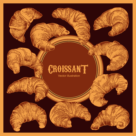 Croissants. Vector illustration in vintage style. French cuisine. Culinary product.