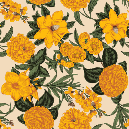 Flowers. Seamless vector background. Vintage illustration. 矢量图像