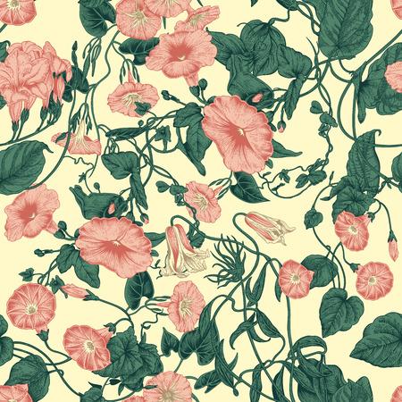 Flowers. Crocheted plants. Seamless vector background in vintage style. Botanical theme. Standard-Bild - 103298940