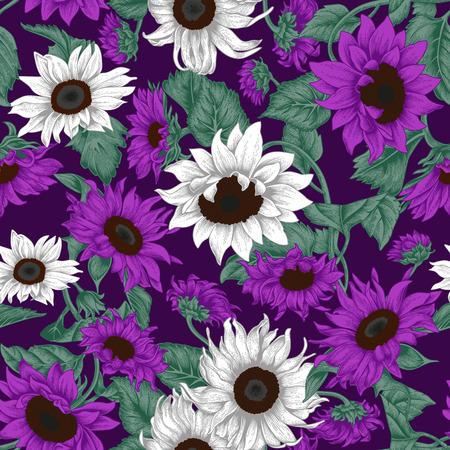 Flowers. Seamless vector background. Vintage illustration. 矢量图像