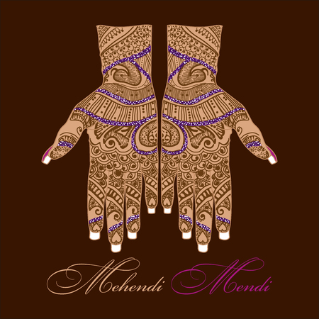 Mehendi. Mehndi. Body painting. Henna patterns. Temporary tattoo. East.