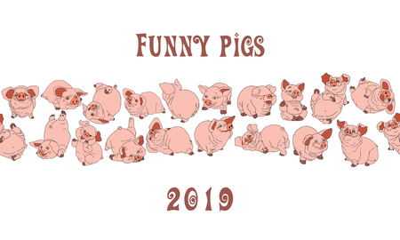 Piglets.   seamless pattern. Merry illustration.