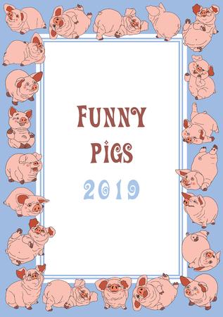 Piglets. Christmas postcard. Festive frame. 矢量图像