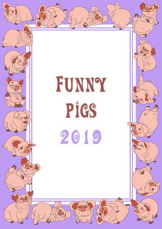 Piglets. Christmas   postcard. Festive frame.