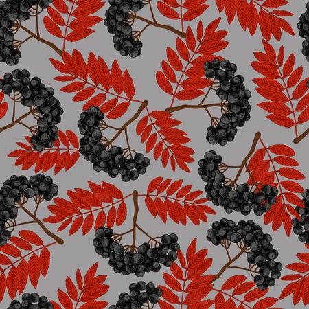 Rowan. Seamless pattern in vintage style. Berries. Trees.