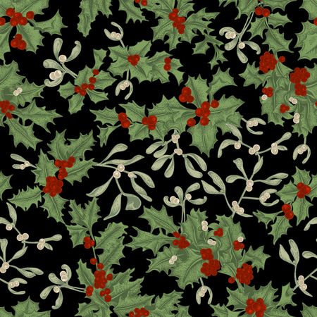 Christmas and New Year. Holly and Mistletoe. Seamless background in vintage style with plant pattern. Vector illustration.