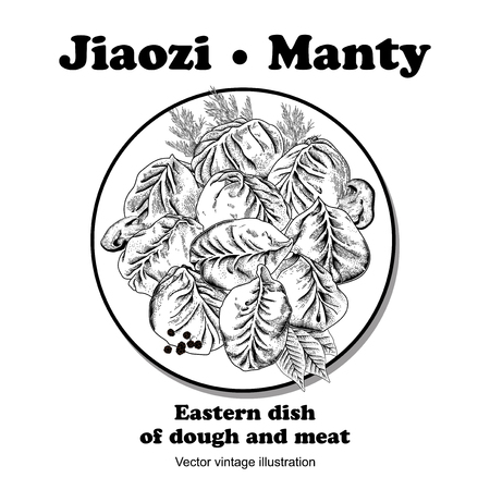 Jiaozi. Manty. Meat dumplings.  National dishes. Dinner. Products from the dough and meat. Vector vintage illustration.