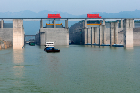 gorges: Three Gorges ship lock Stock Photo