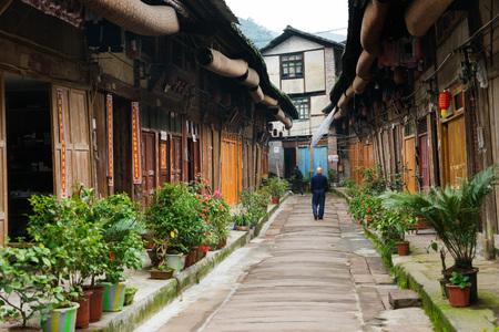 Man walking in residential area