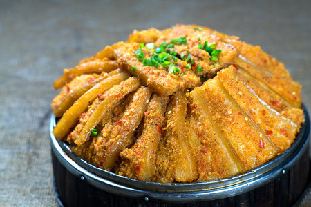 Steamed pork belly dish