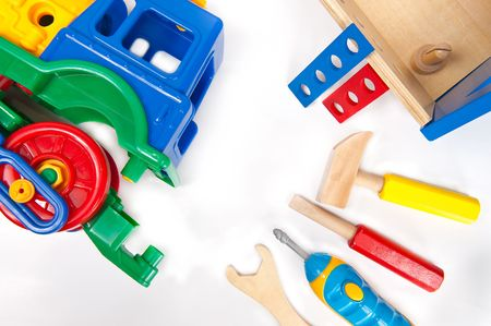 toolset: Repairing toy train with toy toolset Stock Photo