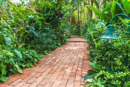 tropical garden: red brick path in a tropical garden Stock Photo