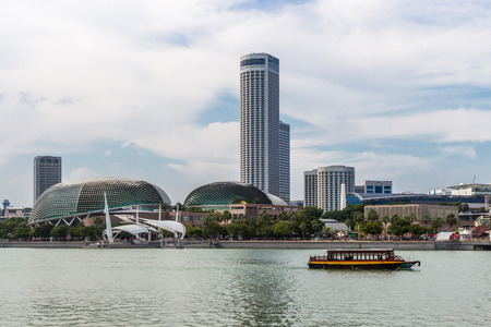 futuristic building: modern futuristic building in the center of  Singapore