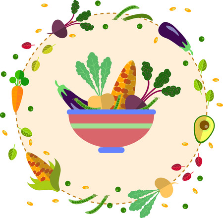 green onion: large plate with various vegetables in flat style in a circle Illustration