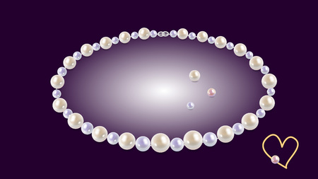 a necklace of pearls on a purple background Ilustracja