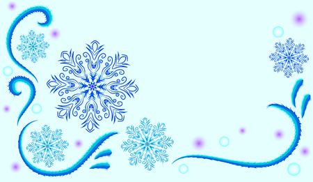 frost: Abstract winter light blue background with snowflakes and frost patterns
