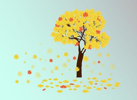 chestnut tree: autumn yellow chestnut tree and falling leaves Illustration