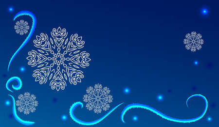 frost: Abstract winter dark blue background with white snowflakes and frost patterns