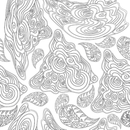 asian and indian ethnicities: black-and-white seamless pattern for coloring books for adults
