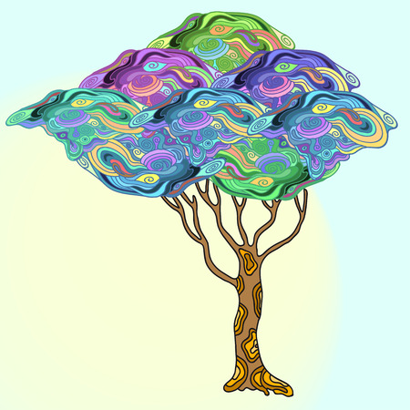 psychodelic: abstract different colour doodle  tree with psychodelic patterns