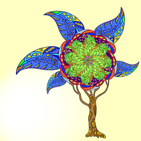 psychodelic: abstract different colour doodle  tree with psychodelic patterns on brown background