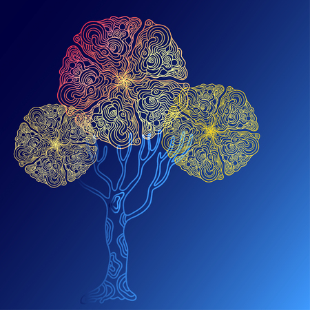 psychodelic: abstract different colour doodle  tree with psychodelic patterns on blue background Illustration
