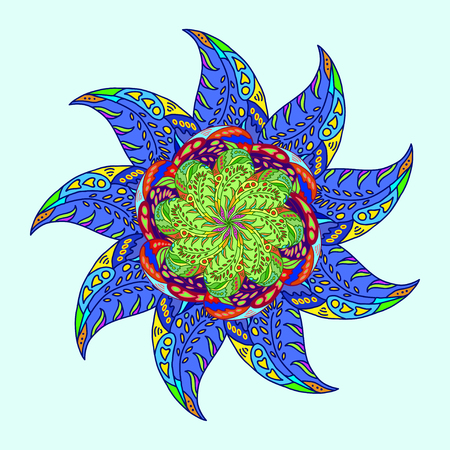 starlike: star-like ornamental pattern from colored floral doodle elements