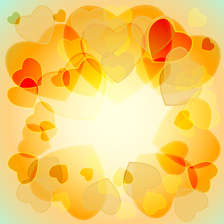 translucent: multicolored translucent hearts on a colored background