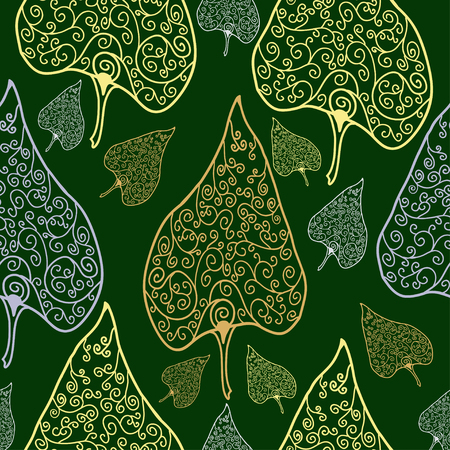 asian and indian ethnicities: ornamental floral seamless pattern on green