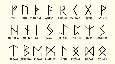 germanic: Set of Old Norse Scandinavian runes. Runic alphabet ,futhark. Ancient occult symbols, germanic letters on white. Vector illustration.