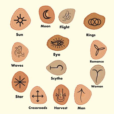 Conjunto de runas Brujas, símbolos wiccan adivinación. símbolos ocultos antiguos, en blanco. Ilustración del vector. Foto de archivo - 69476553
