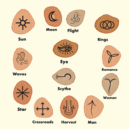 Conjunto de runas Brujas, símbolos wiccan adivinación. símbolos ocultos antiguos, en blanco. Ilustración del vector. Ilustración de vector