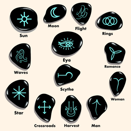 wiccan: Set of  Witches runes, wiccan divination symbols. Ancient occult symbols,  on white. Vector illustration.