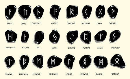 germanic people: Set of Old Norse Scandinavian runes carved in stone. Runic alphabet ,futhark. Ancient occult symbols, germanic letters on white. Vector illustration.