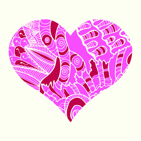 Zentangle heart  with abstract floral pattern inside. Design element for Valentine`s day. Illustration