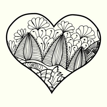 Ilustración Vectorial Feliz Día De San Valentín Corazón, Dudling ...