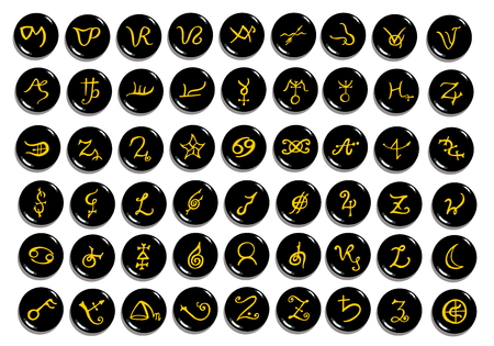 A set of  golden alchemical symbols carved on stone isolated on white. Hand drawn elements for design. Mystical, esoteric, occult theme. Illustration