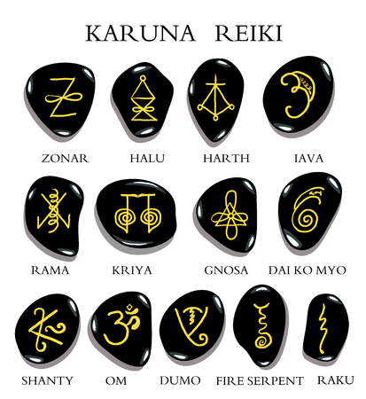 A Set Of Reiki Symbols Carved On Stone Isolated On White Hand