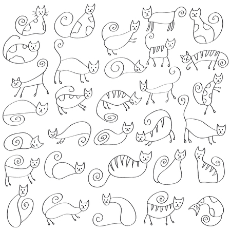Set of odd funny primitive style cats. Freehand drawing, line art, black and white doodle style icon. Cute cats expressing different emotions.