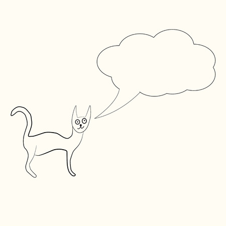 Odd funny primitive style cat with text bubble. Freehand drawing, line art, black and white doodle style icon.