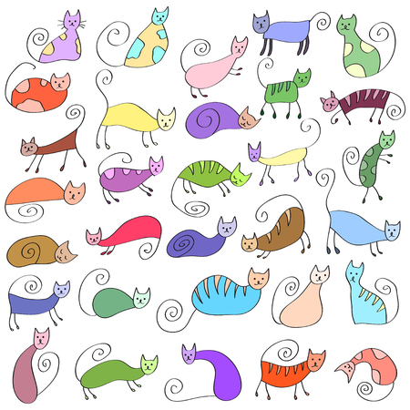 silueta de gato: Set of odd funny primitive style cats. Freehand drawing, line art, doodle style icon. Cute cats expressing different emotions. Vectores